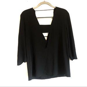 Express deep v neck choker blouse m